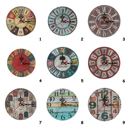 Large Vintage Rustic Wooden Wall Clock Kitchen Antique Shabby Chic Retro Home-