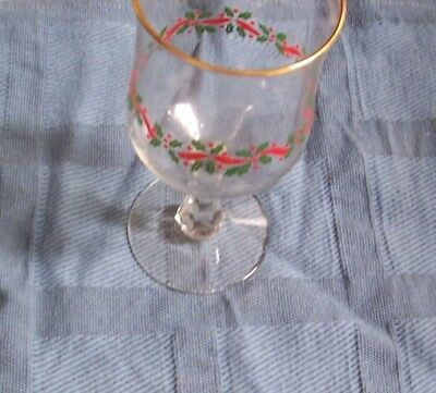 6 Vintage Arby's Christmas Stemmed Glasses / Wine Goblets Holly Ribbon Gold Trim