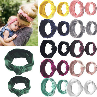 Mom Mother & Daughter Baby Girl Knot Headband Hair Band Accessories 2PCS Set