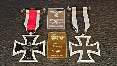 Two German Military Iron Cross Medals Gold Plated A Hitler Bar Silver Plated Bar
