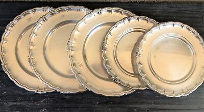 6 Swedish C.g. Hallberg Stockholm Vintage Silver-Plated Small Set Of 4+2 Plates