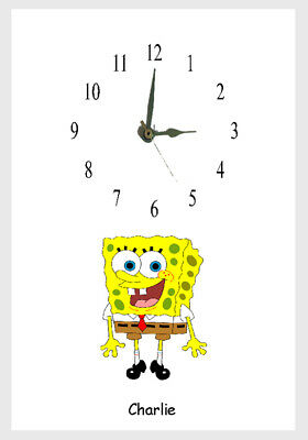 Spongebob Wall clock Childs Name Added free