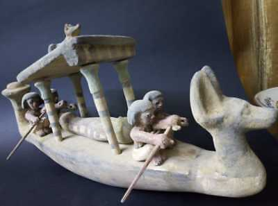 ANCIENT EGYPTIAN ANTIQUE Large WOODEN RIVER BOAT 58 cm Funerary Practices BC