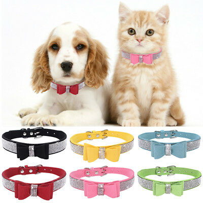 Bling Rhinestone Pet Puppy Cat Collars Adjustable Leather Bowknot Kitten Collar