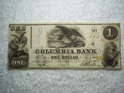 1852 $1 Washington DC The Columbia Bank Obsolete Currency