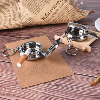 Double Layer Round Cigarette Keychain Portable Stainless Steel Pocket Ashtray_K