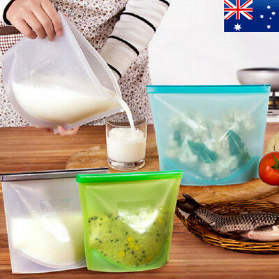 4X Reusable Silicone Seal Bags Storage Bags Food Preservation Bag Zip Container