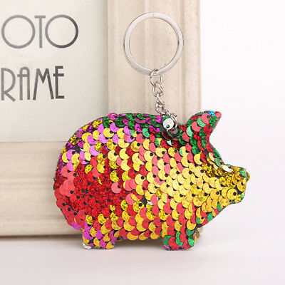 Charming Shiny Sequins little Pig Keychain Sequins Animal Bag Pendant Gifts N7
