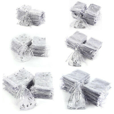 Large Pack / 100pcs Organza Gift Bags Silver Grey Love Heart / Tree Pattern