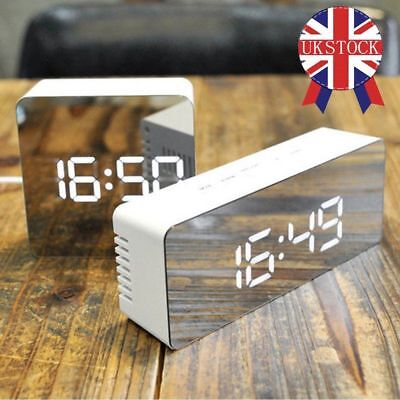 NEW Mirror Digital LED Snooze Alarm Clock Time Temperature Night Mode UK