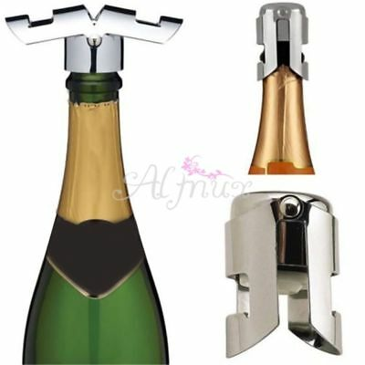1x Sparkling Stainless Steel Champagne Bottle Stopper Sealer Wine Plug Gifts NEW