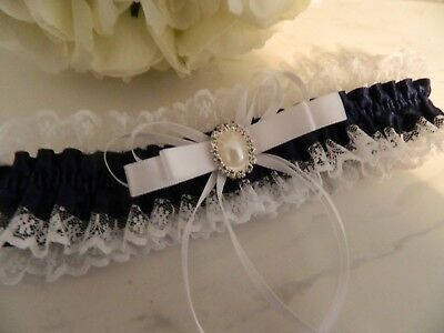 Wedding Garter Navy Blue  & White Lace- Pearl Embellishment - Pouch