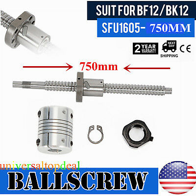 Ball Screw SFU1605 L750mm End Machined & BK/BF12 Support + 6.35x10mm Coupler Set
