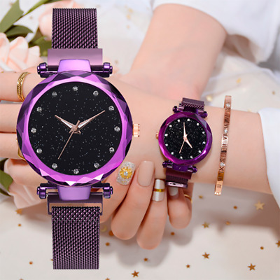Women's Watch Starry Sky Diamond Dial Women Bracelet Watches Magnetic Stainless