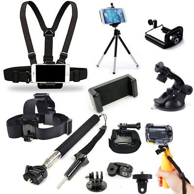 Head Chest Mount Monopod Accessories Kit For GoPro Hero Sony Action Cam iPhone
