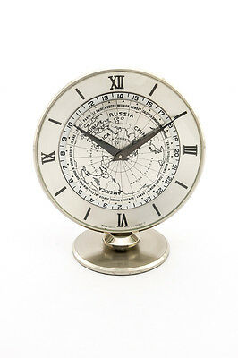 Rare Imhof Suisse table clock with 8 day movement worldtime and 24h scale,1960´s