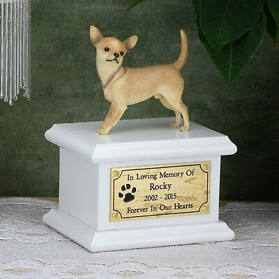Solid Wood Dog White, Cremation Urn / Casket, Chihuahua