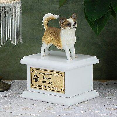 Solid Wood Dog White, Cremation Urn / Casket, Chihuahua Long Hair