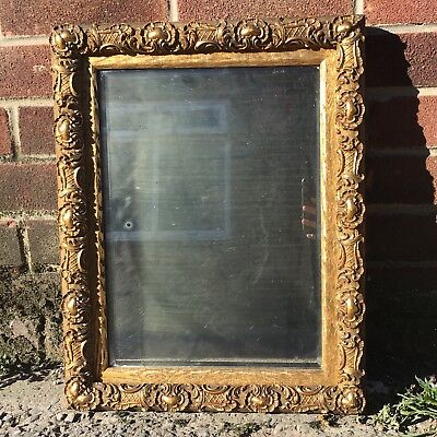"""Antique 15"""" x 19"""" Wooden Gold Resin Gilded Mirror Hollywood Regency"""