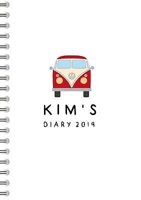 Camper Van Design Personalised 2019 DIARY A5 Size,Great Gift Idea, Design 175