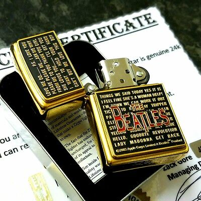 24ct Gold Plated Metal Petrol The Beatles Song Titles Zippo Lighter Boxed 24k
