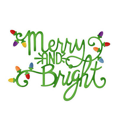 Christmas Merry And Bright Metal Cutting Dies Scrapbooking Craft Die cuts Card