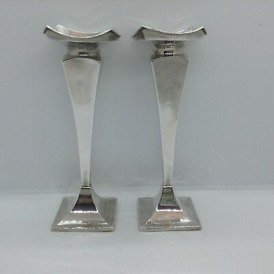 Two Antique Sterling Silver Chester 1925 Vases