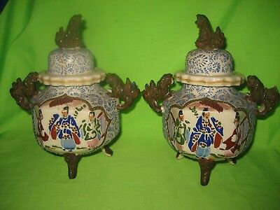 Pair of Oriental Hand Painted Double Handled Dogs Fo Lidded Pots On Three  Legs