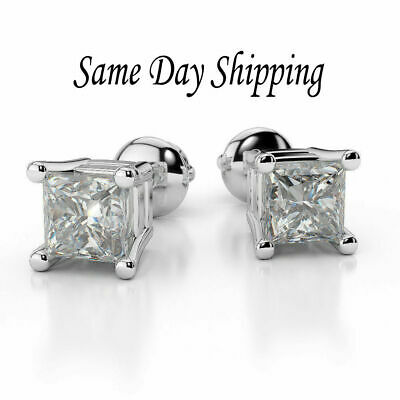 Princess Cut Diamond Claw Set Stud Earrings in 925 Sterling Silver - Screw Back