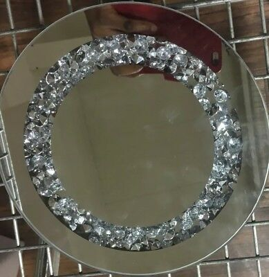CRUSHED JEWELS DIAMANTE MIRRORED CANDLE PLATE BLING WEDDING TABLE JEWELLED PLATE