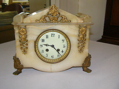 Antique French White marble Japy Freres mantel clock, 8 day runs & chimes 1890?