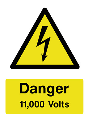 11,000 Volts electrical warning sign