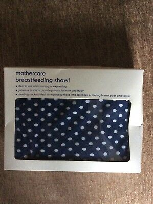Mothercare Breastfeeding Nursing Shawl Cover Apron Navy White spots VGC with Box