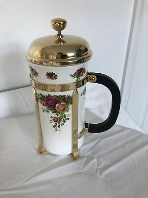 """Royal Albert English Bone China """"old Country Roses""""  Cafetiere Coffee Pot"""