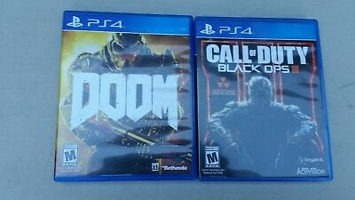 lot of 2 PS4 games call of duty black ops 111,doom