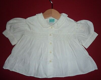 Vintage White Baby Blouse~Tiny Tots Original~1950s 60s, Smocking, Embroidery
