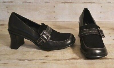 c0f225e7e96 AK ANNE KLEIN Iflex Black Suede Leather Slip On Buckle Heels Womens ...
