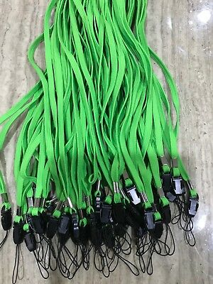 100 x LIME GREEN COTTON Lanyards Neck Straps for ID Card Holders name tags USB's