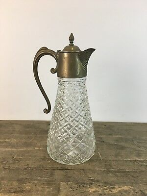 Antique Silver Plated & Cut Glass Claret Wine Jug.