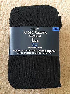 Faded Glory Girl's Black Heavyweight Cotton Tights, Size 12-14, NWT!