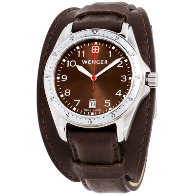Wenger Alpine Brown Dial Leather Strap Men's Watch 72123