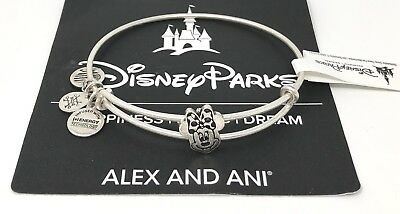 Disney Parks Alex and Ani Minnie Mouse Face Slider Silver Bangle Bracelet NEW