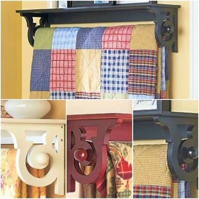 Quilt Display Hanger Rack Wall Mount with Shelf Towel Bar Black, Brown or White