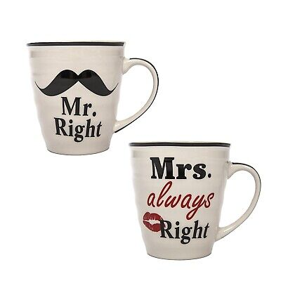 Tasse 2er Set Mr. Right und Mrs. always Right Kaffeetasse Valentinstag Hochzeit