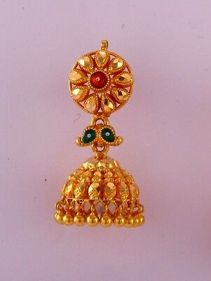Rare! Vintage Antique Ethnic Tribal Solid 20 Carat Gold Earring Pair India