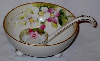 "Antique ""Rising Sun"" Nippon Footed Sauce Bowl & Ladle Dogwood Flowers Gold Japan"