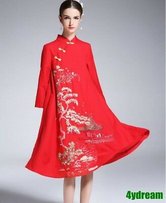 Vintage Embroidery Chinese Style Court Loose Cheongsam Wedding Cotton Dresses
