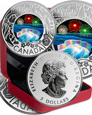 2019 Niagara Falls Winter Lights $3 PureSilver Proof Coin Canada Fun Festivities