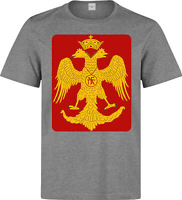 Byzantine Eagle Red And Yellow Artwork men's grey t shirt