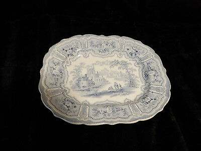 Very Old Antique 1800's Blue and White Platter with Castle